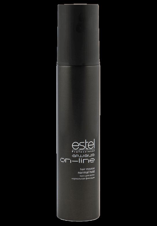 ESTEL PROFESSIONAL Мусс для волос нормальной фиксации / Always On-Line 300млМуссы<br>Обеспечивает волосам длительную фиксацию и объем. Придает укладке четкое очертание и фиксирует локоны. Делает волосы пластичными и податливыми к укладке. Профессиональная формула с витамином Е, провитамином B5 и экстрактом личи ухаживает за кожей головы, увлажняет, укрепляет волосы и придаёт им естественный блеск. Обладает антистатическим эффектом. Способ применения: хорошо встряхните флакон. Выдавите мусс, держа баллон насадкой вертикально вниз. Для придания объёма нанесите мусс на прикорневую часть чистых влажных волос. Для моделирования причёски и фиксации локонов распределите равномерно по всей длине волос. Высушите феном.<br><br>Класс косметики: Профессиональная