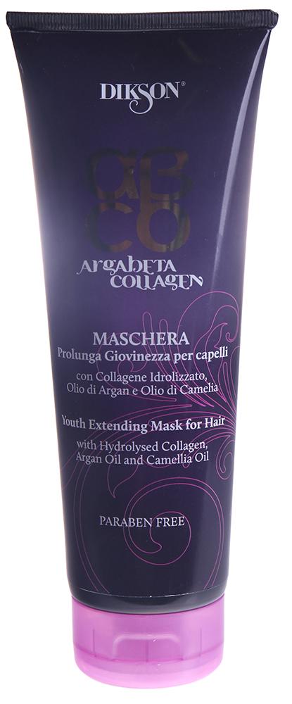 DIKSON Маска коллагеновая / ARGABETA COLLAGENE 250млМаски<br>Ревитализация всех типов волос. Упрочнение волоса без его утяжеления. Восстановление оптимального равновесия волокна и предотвращение преждевременного старения. Положительный результат воздействия натурального коллагена основывается на стимулировании клеток (кератиноцитов и фибробластов), которые помогают вырабатывать собственный коллаген в клетках кожи. Витамин Е, содержащийся в масле Арганы, действует как антиоксидант, питает и увлажняет волосы, делая их более прочными. Масло Камелии известно своей способностью придавать волосам блеск, сияние и мягкость, особенно эффективно при аллергии и перхоти. Идеально подходит для всех типов волос. Великолепный результат на тонких волосах. Активные ингредиенты: коллаген, масло арганы, масло камелии.Способ применения: равномерно распределить на волосах маску, помассировать для улучшения впитывания. Выдержать 5-10 минут и тщательно ополоснуть. Завершить процедуру нанесением молочка Продление молодости.<br><br>Назначение: Перхоть