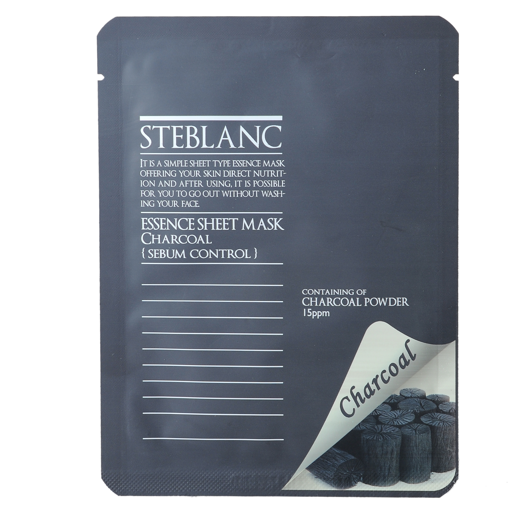 STEBLANC Маска адсорбирующая на основе древесного угля для лица / ESSENCE SHEET MASK 20гр