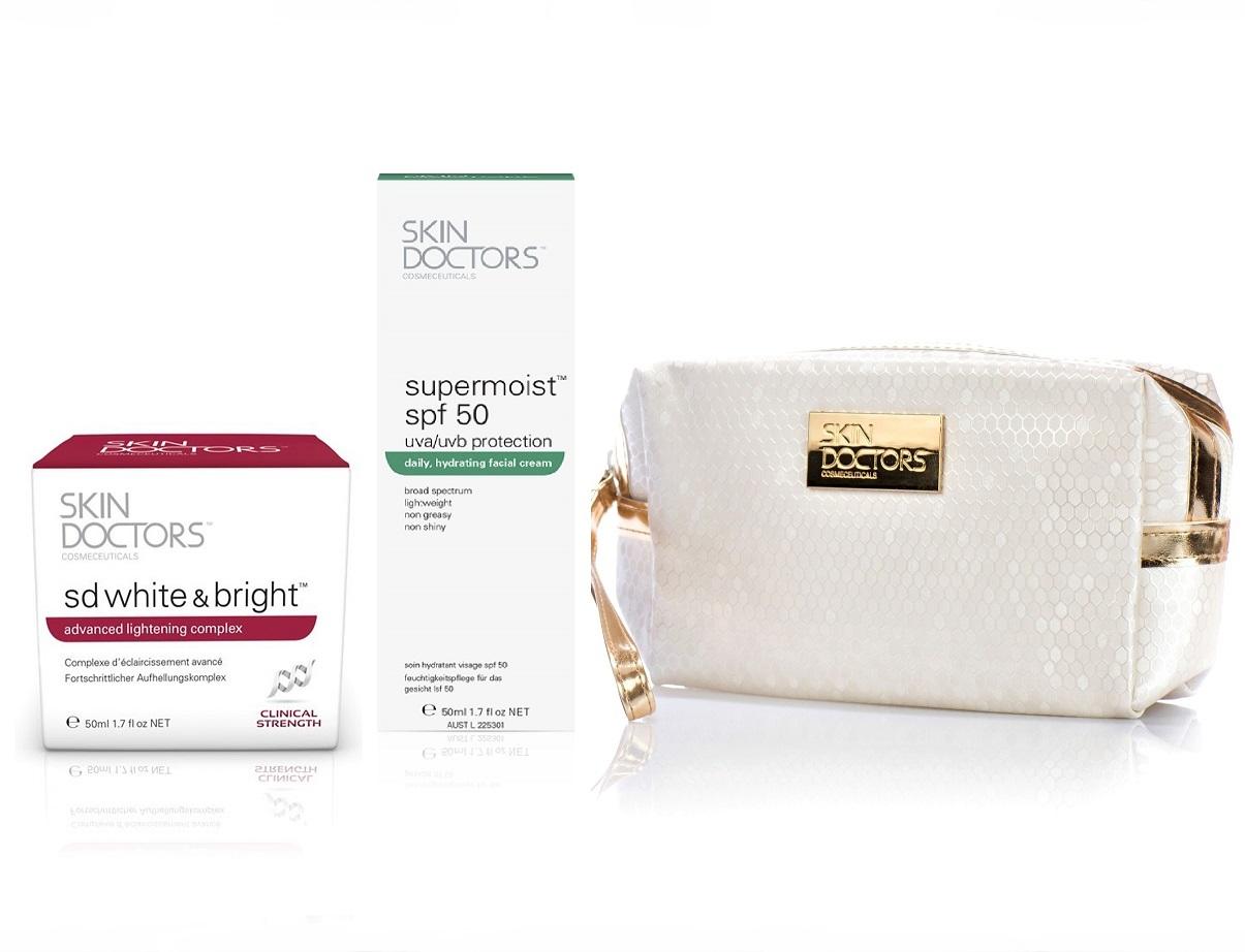 Купить SKIN DOCTORS Набор Отбеливающий эффект для лица (отбеливающий крем 50 мл, солнцезащитный крем 50 мл, косметичка)