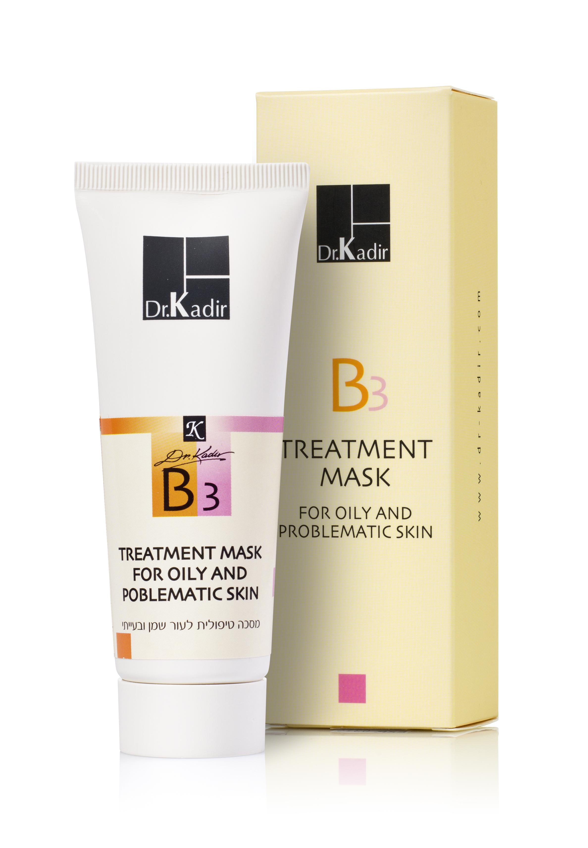 DR KADIR Маска для жирной и проблемной кожи / B3 home care 75млМаски<br>B3 Mask For Oily And Problematic Skin — лечебная маска основанная на уникальной комбинации экстрактов трех растений, обладающих успокаивающим, и освежающим эффектом: арники, календулы и алоэ настоящего. Витамин B3 снижает секрецию кожного сала. Маска также прекрасно успокаивает и дезинфицирует кожу после чистки. Активные ингредиенты: каолин, экстракт алоэ, ниацинамид, экстракт арники, экстракт календулы, пантенол, Витамин Е, бисаболол, аллантоин, молочная кислота, усниновая кислота. Способ применения: нанести маску толстым слоем на лицо, оставить на 10-15 минут, после тщательно смыть.<br>