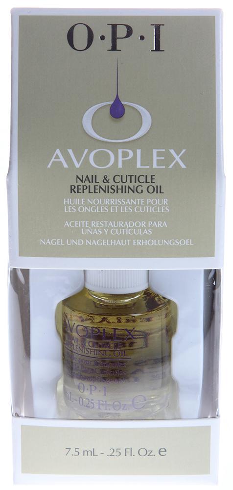 OPI Масло для ногтей и кутикулы Авоплекс / Nail &amp; Cuticle Replenishing Oil AVOPLEX 7,5млДля кутикулы<br>Натуральное масло авокадо, включающее в себя витамины А, B, D, E и лецитин, смягчает и питает кутикулу и матрикс ногтя. Кроме того, в состав входят: масла виноградных косточек, подсолнуха, кунжута. Не содержит синтетических добавок, отдушек и красителей. Идеальный уход за ногтями в салоне и дома. Замедляет нарастание кутикулы, способствует росту натуральных ногтей. Способ применения:  Одна капля масла наносится на кутикулу в завершающей стадии маникюра. Мягко втирать масло в область кутикулы в течение минуты. Рекомендуется наносить ежедневно в домашних условиях.<br><br>Объем: 7.5<br>Типы ногтей: Нормальные