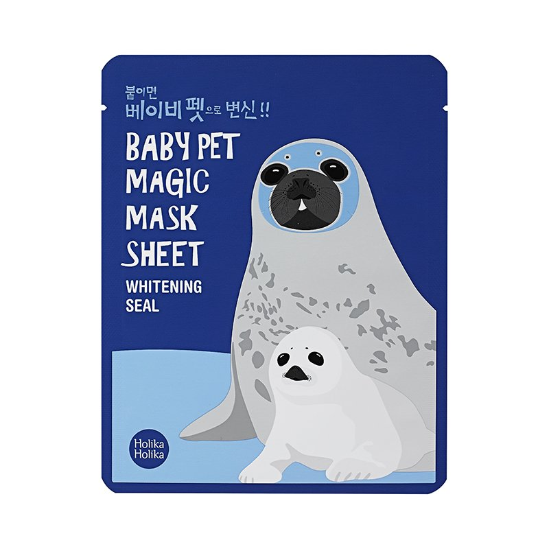 HOLIKA HOLIKA Маска-мордочка тканевая осветляющая (тюлень) & Бэби Пэт Мэджик&  / Baby Pet Magic Mask Sheet Whitening Seal 22мл -  Маски