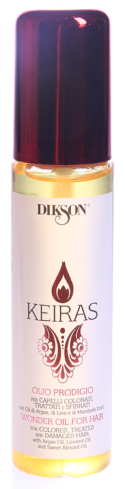DIKSON Комплекс питательный / OLIO PRODIGIO KEIRAS 60млМасла<br>Уникальный питательный комплекс, смесь благородных масел. Моментально впитывается в волосы, обеспечивая глубокое увлажнение, шелковистость и изумительный блеск. Масло Арганы способствует восстановлению структуры волоса, обладает антистатическим эффектом. Льняное масло придает волосам эластичность и здоровый блеск. Масло сладкого Миндаля cтимулирует рост волос. Великолепный anti-age продукт. Обеспечивает надежную UV-защиту.  Активные ингредиенты: Масло арганы, льняное масло, масло сладкого миндаля.   Способ применения: Нанести несколько капель питательный комплекс на влажные или сухие волосы. Перейти к сушке.<br><br>Вид средства для волос: Питательный