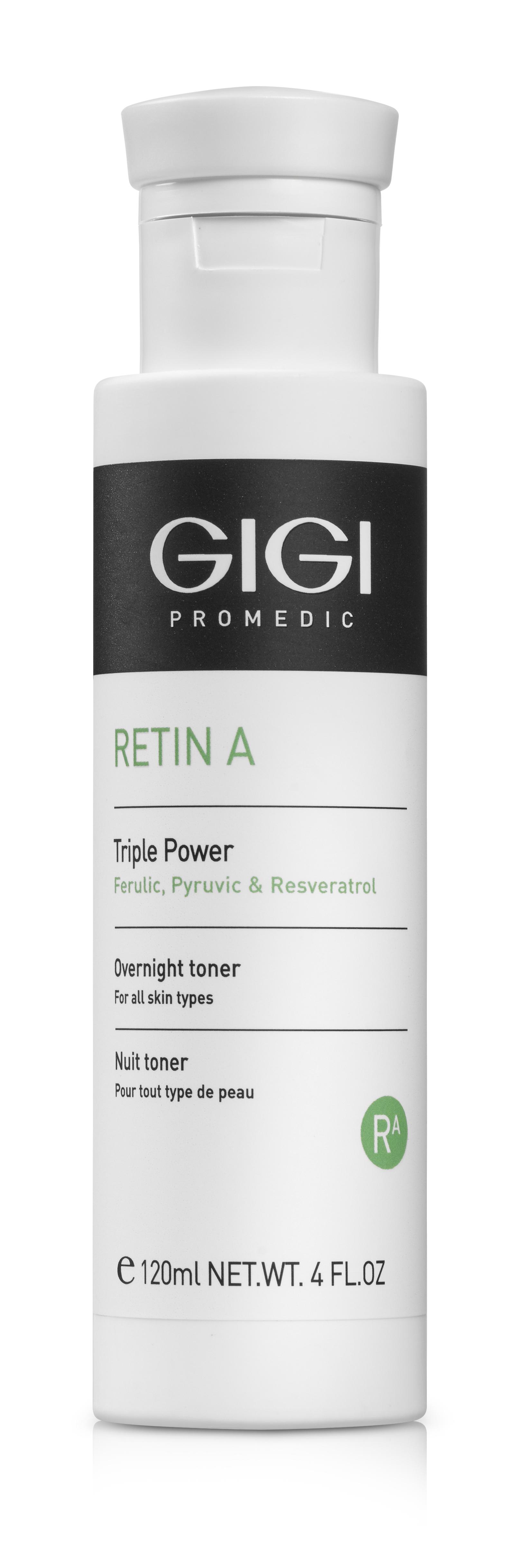 GIGI Лосьон-концентрат ночной мультикислотный для всех типов кожи & Тройная сила&  / Retin-A, Triple Power Overnight Lotion, 120 мл