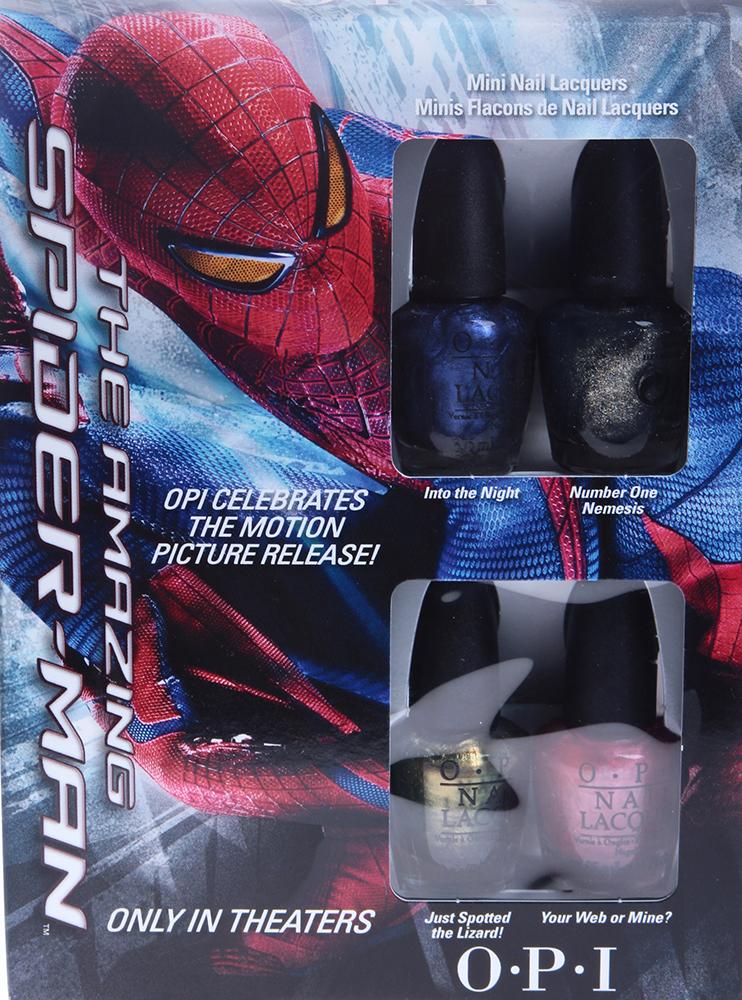 OPI Мини лаки The Amazing Spider-Man 4*3,75млЛаки<br>В набор входят: Лак для ногтей  Your Web Or Mine?  (3.75 мл) Лак для ногтей  Into The Night  (3.75 мл) Лак для ногтей  Number One Nemesis  (3.75 мл) Лак для ногтей  Just Spotted The Lizard  (3.75 мл) Способ применения: Нанесите 1-2 слоя на ногти после нанесения базового покрытия. Для придания прочности и создания блеска затем рекомендуется использовать верхнее покрытие.<br>