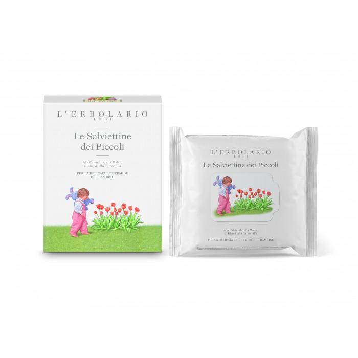 LERBOLARIO Салфетки детские влажные с календулой, мальвой, рисом и ромашкой 20шт