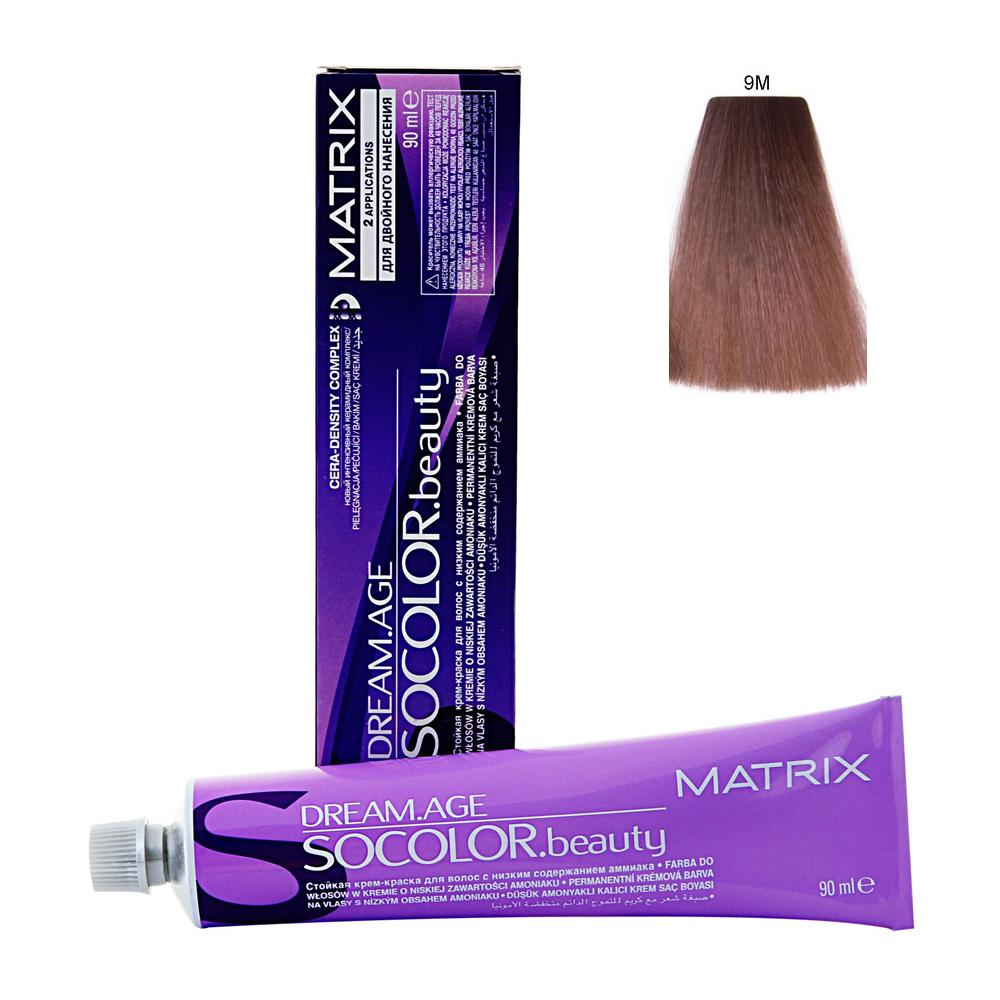 MATRIX 9M краска для волос / СОКОЛОР БЬЮТИ D-AGE 90млКраски<br>Крем-краска Dream Age специально разработана для проведения окрашивания седых волос. Оттенки для волос с содержанием седины более 50%. Применение запатентованной технологии ColorGrip обеспечивает четкий и яркий оттенок, благодаря самонастраивающимся красителям, которые взаимодействуют с натуральным пигментом волоса. Также в состав краски входит кондиционер Cera-Oil, что обеспечивает бережных уход, укрепляет и питает структуру волос. Крем-краска удобно наносится и обладает приятным фруктовым ароматом. Богатый пигментами краситель: 100% закрашивание седины Мультирефлективный цвет Формула с низким содержанием аммиака Технология Pre-Softenung смягчает резистентный седой волос перед окрашиванием Не нужно смешивать с другими оттенками Используется с 6% Крем-Оксидантом Способ применения: смешайте краску с активатором в нужных пропорциях, после чего нанесите смесь на волосы и оставьте на 20-45 минут. После процедуры тщательно смойте краску теплой водой и высушите волосы полотенцем.<br><br>Цвет: Блонд<br>Объем: 90
