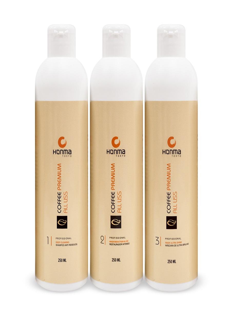 HONMA TOKYO Набор для кератинового выпрямления волос с сильным завитком (шампунь 250 мл, кератин 250 мл, маска 250 мл) Coffee Premium All Liss - Наборы