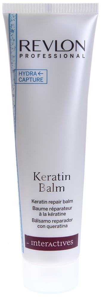 REVLON Бальзам восстанавливающий с кератином / INTERACTIVES KERATIN 150млБальзамы<br>Кондиционер обогащен Кератином, обладающим восстанавливающими, питательными и укрепляющими свойствами. Система HYDRA CAPTURE увлажняет волосы изнутри и укрепляет их структуру. Обеспечивает легкость, мягкость и блеск.  Способ применения: Нанести небольшое количество шампуня Keratin Balm на влажные волосы массирующими движениями. Оставьте на 3 минуты для воздействия. Тщательно промыть волосы.<br><br>Вид средства для волос: Восстанавливающий