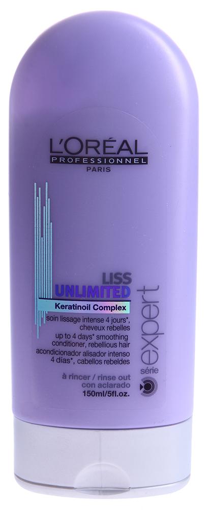 LOREAL PROFESSIONNEL Уход смываемый для непослушных волос / ЛИСС АНЛИМИТЕД 150млКондиционеры<br>Смываемый уход для гладкости непослушных волос подарит вашим волосам эластичность, мягкость и шелковистость. Он совершенно необходим во влажную погоду для того, чтобы сохранить элегантную гладкость вашей прически. Средство обеспечивает гладкость волосам на целых 4 дня, не позволяет им пушиться и завиваться. Активные ингредиенты: масло кукуи, масло энотеры, кератин. Способ применения: нанесите на чистые волосы. Распределите равномерно по волосам. Смойте.<br><br>Вид средства для волос: Разглаживающий<br>Типы волос: Кудрявые