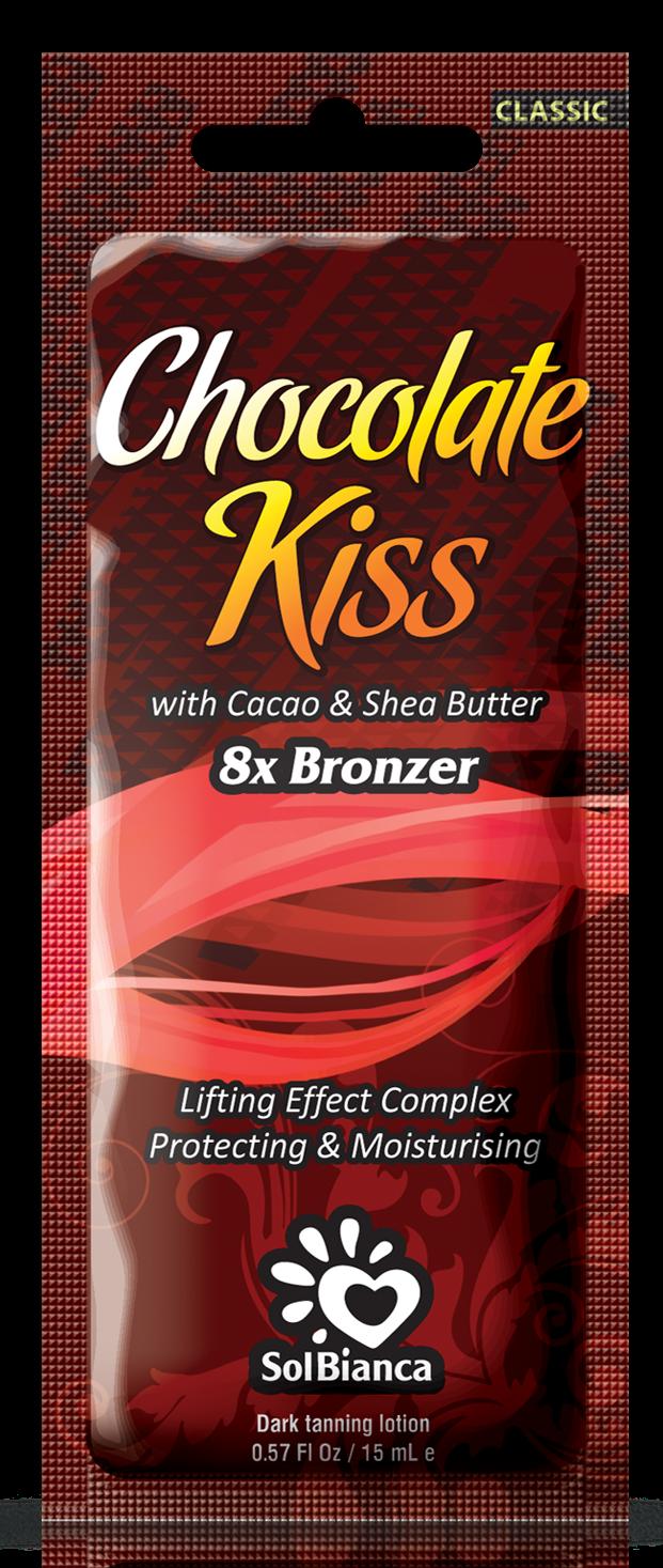 SOLBIANCA Крем для загара в солярии  Chocolate Kiss  с маслом какао, маслом Ши / CLASSIC COLLECTION 15 млКремы<br>Превосходный крем для загара с маслом какао и маслом ши, является прекрасным сочетанием стойкого ультратемного бронзового загара и моделирующего эффекта. Удовлетворит даже самых требовательных посетителей солярия! Активные ингредиенты: масло какао и масло ши. Состав: (INCI) Aqua, Glycerin, Cetearyl Alcohol, Propylene Glycol, Paraffinum Liquidum, Dihydroxyacetone, Hydrogenated Palm Oil, Dimethicone, Isopropyl Palmitate, Stearyl Alcohol, Ceteareth   6, PEG   100 Stearate, PEG   7 Glyceryl Cocoate, Mannan, Cyclomethicone, Theobromo Cacao Seed Butter, Aloe Barbadensis Extract, Juglans Regia Seedcoat Extract, Phenoxyethanol, Methylparaben (and) Ethylparaben (and) Propylparaben, Glyceryl Stearate, Ceteareth - 20, Ceteareth   12, Cetyl Palmitate, Butyrospermum Parkii Oil, Panthenol, Persea Gratissima Oil, Juglans Regia Seed Oil, PEG   40 Hydrogenated Castor Oil, Parfume, Methylchloroisothiazolinone, Methylisothiazolinone, BHT, Ascorbyl Palmitate, Hippophae Rhamnoides Extract, Citric Acid, Caramel, CI 20285. Способ применения: аккуратными массажными движениями равномерно распределить содержимое по сухой чистой коже. Аккуратно втереть.<br>