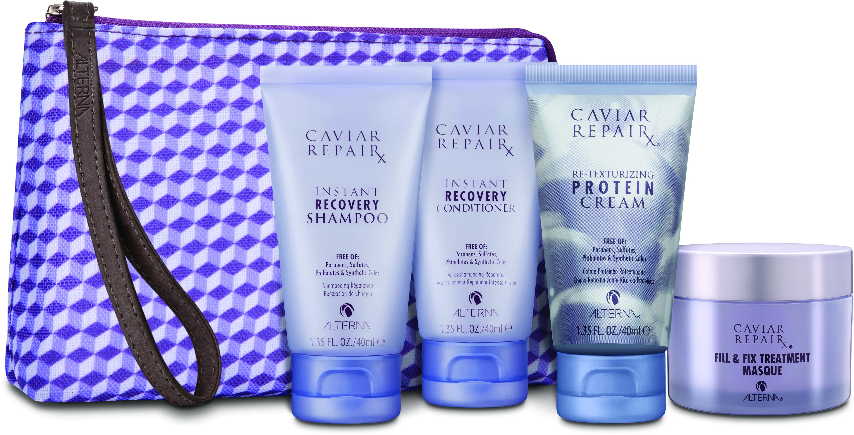 ALTERNA Набор для волос Быстрое Восстановление: восстанавливающий шампунь, кондиционер, маска, крем протеиновое восстановление / Travel Set Repair CAVIAR