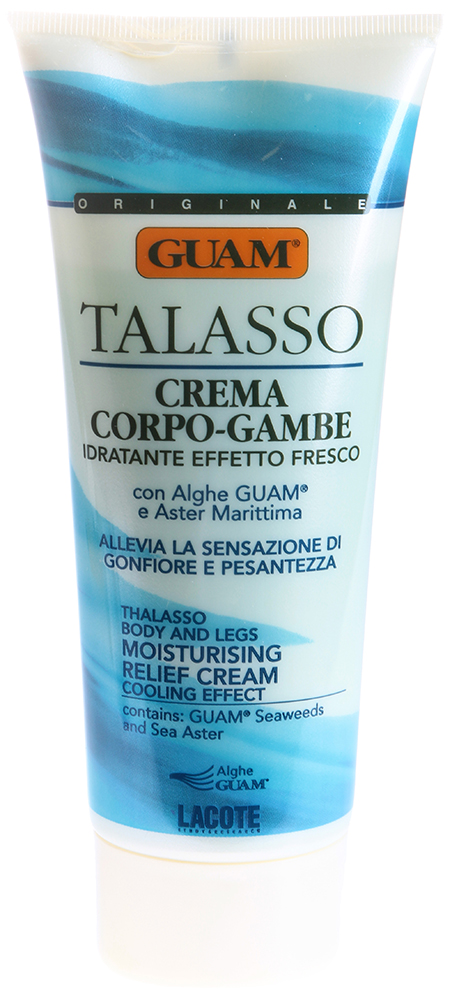 GUAM Крем освежающий увлажняющий для снятия тяжести в ногах / TALASSO 200млКремы<br>Эффективно и быстро снимает тяжесть, отечность, улучшает эстетический вид ног. Регулярное применение подарит ногам легкость и комфорт. Эффективен в период беременности. Активные ингредиенты: Экстракт водорослей GUAM, масла подсолнечное, розмариновое, оливковое, керамиды, экстракты астры татарской, киви, ментол. Способ применения: Для максимального эффекта наносите массажными движениями от щиколоток снизу вверх до полного впитывания.<br><br>Объем: 200<br>Вид средства для тела: Увлажняющий