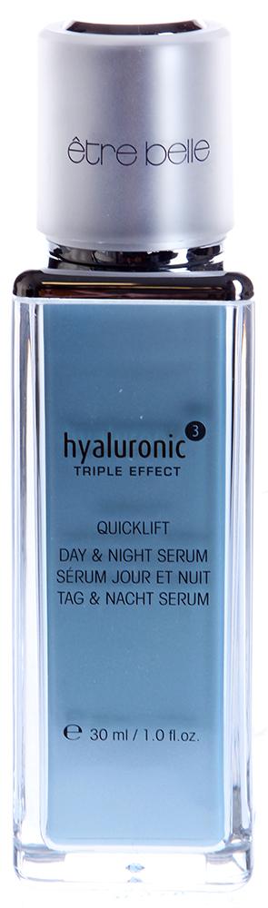 ETRE BELLE Экспресс Лифтинг дневная и ночная сыворотка / Hyaluronic 30 млСыворотки<br>Увлажняющая, насыщающая, лифтинговая сыворотка с гиалуроновой кислотой и компонентом Quicklift. Quicklift - это полисахарид, который формирует на коже невидимую, проницаемую, укрепляющую сетку. Благодаря тому, что компонент Quicklift обладает сильным поверхностным натяжением сыворотка обеспечивает немедленный лифтинговый эффект.  Комплексы гиалуроновой кислоты в двух вариациях (низкомолекуряная, высокомолекулярная), обеспечивают работу гиалуроновой кислоты на различных уровнях эпидермиса. Продукт гипоаллергенный, не содержит консервантов, парабенов и минеральных масел.  Активные ингредиенты: Высокомолекулярная гиалуроновая кислота, низкомолекулярная гиалуроновая кислота, Quicklift (полисахарид), аллантоин, мочевина, серин, молочная кислота.   Способ применения: После очищения и тонизации, нанести вбивающими движениями, стараясь не массировать. Сверху нанесите Дневной и ночной крем. Рекомендации: особенно эффективно применять данную сыворотку совместно с мезороллером - для более глубокого проникновения активных ингредиентов.<br><br>Вид средства для лица: Глубокий<br>Время применения: Дневной