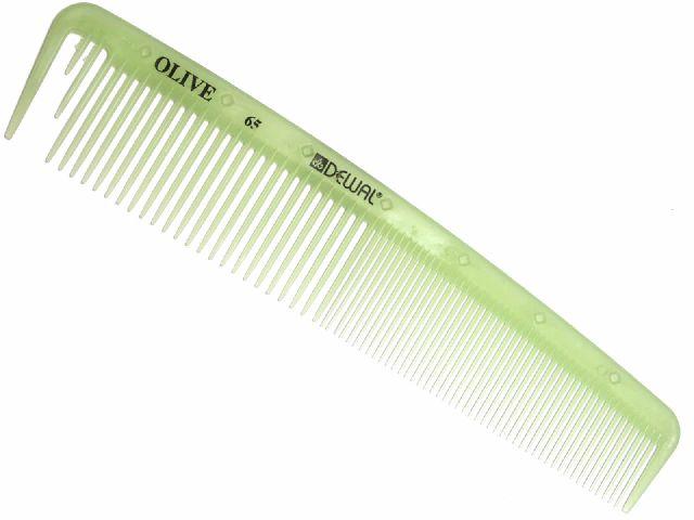 DEWAL PROFESSIONAL Расческа рабочая Olive комбинированная, с разделительным зубцом, широкая (зеленая) 19,5 см