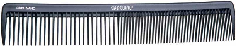 Купить DEWAL PROFESSIONAL Расческа рабочая Nano комбинированная, широкая, антистатик (черная) 21, 5 см