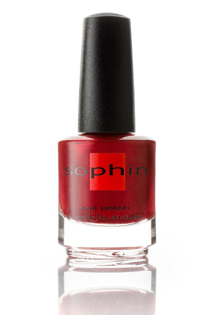 SOPHIN Лак для ногтей, алый с большим количеством мелкого розового шиммера 12мл