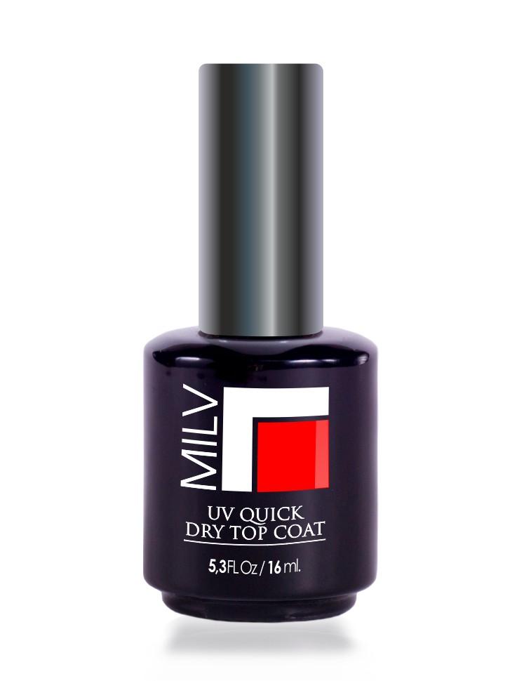 MILV Покрытие топ на гелевой UV основе / UV Quick Dry Top Coat 16млВерхние покрытия<br>UV закрепитель для лака. Текстура лака с технологией УФ геля, не требует сушки под лампой и снимается обычным средством для снятия лака. Способ применения: - нанести два слоя цветного лака и дать высохнуть - нанести 1 слой УФ топа Ключевые свойства продукта: - формула 3 free (не содержит толуол, формальдегид, ) - специальный УФ лак-закрепитель разработан с использованием гипоаллергенной смолы, которая вступает в реакцию с обычным лаком и значительно продляет срок его ношения. Технические характеристики: - не требует светодиодной лампы для высыхания -легко наносится -образует прочное, идеально ровное покрытие, полное визуальное сходство с гелевым лаком. - произведено из высококачественного сырья, соответствует мировым требованиям безопасности.<br>