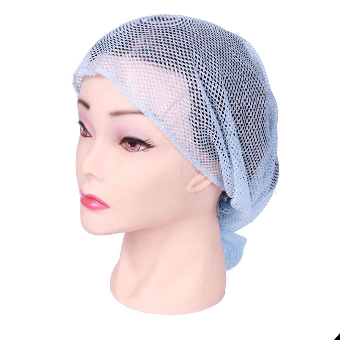 SIBEL Сеточка-косынка для бигуди средняя, голубая