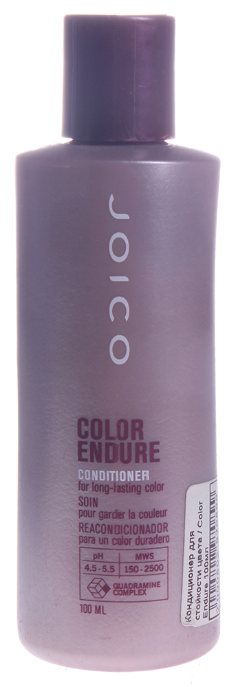 JOICO Кондиционер для стойкости цвета / COLOR ENDURE 100млКондиционеры<br>Кондиционер для стойкости цвета Color Endure Conditioner for Long Lasting Color &amp;ndash; это второй важный шаг в уходе за волосами. Он помогает надолго сохранить яркость тона окрашенных волос. Средство значительно уменьшает выцветание и тональные изменения волос, нежно кондиционирует, делает волосы более сильными, мягкими и послушными. В основе кондиционера лежит уникальный комплекс защиты цвета Multi-Spectrum Defense Complex. Он поможет сохранить всю многогранность и яркость цвета ваших волос.  Способ применения: Нанесите на вымытые шампунем, влажные волосы. Помассируйте, оставьте на 2 минуты. Тщательно промойте волосы водой.<br><br>Типы волос: Окрашенные
