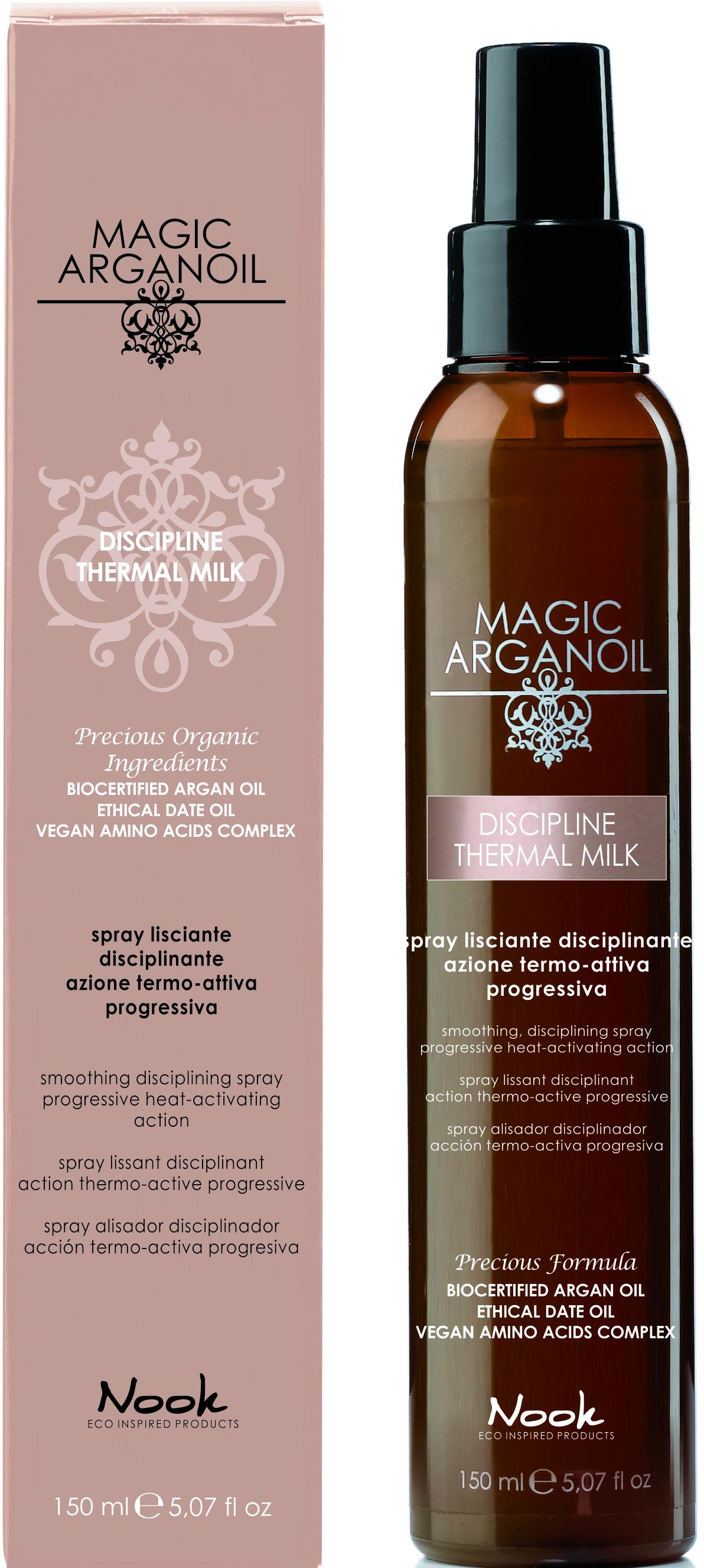 NOOK Спрей разглаживающий с термозащитным действием для непослушных волос / Disciplining thermal smooting spray MAGIC ARGANOIL 150 мл.