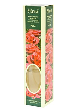 ELFARMA Ароматизатор воздуха с натуральным эфирным маслом Роза 50млАроматы для интерьера<br>Эфирное масло, входящее в состав ароматизатора, наполнит комнату мягким розовым ароматом. Тростниковые ароматизаторы Эльфарма удобный, безопасный и экономичный способ придать помещению восхитительный аромат: - не содержат токсичных и разрушающих озоновый слой веществ - эффективно удаляют неприятные запахи - аромат сохраняется от 1 до 4 мес. - просто: откройте флакон и вставьте в него тростниковые палочки. Когда они пропитаются жидкостью, воздух наполнится ароматом. - стильное дополнение интерьера В наборе: ароматизатор воздуха в стеклянном флаконе с деревянной пробкой, тростниковые палочки Активные ингредиенты: вода, парфюмерная композиция Способ применения: откройте флакон и вставьте в него тростниковые палочки. Когда они пропитаются жидкостью, воздух наполнится ароматом. Интенсивность запаха можно регулировать, меняя количество палочек в диффузоре. Для небольшого помещения достаточно 3-х палочек во флаконе. Противопоказания: индивидуальная непереносимость, обострение аллергии Меры предосторожности: хранить в недоступном для детей месте. При попадании в глаза промыть проточной водой. Следует избегать соприкосновения жидкости с деревянными и пластиковыми поверхностями. Способ хранения: хранить при комнатной температуре<br>