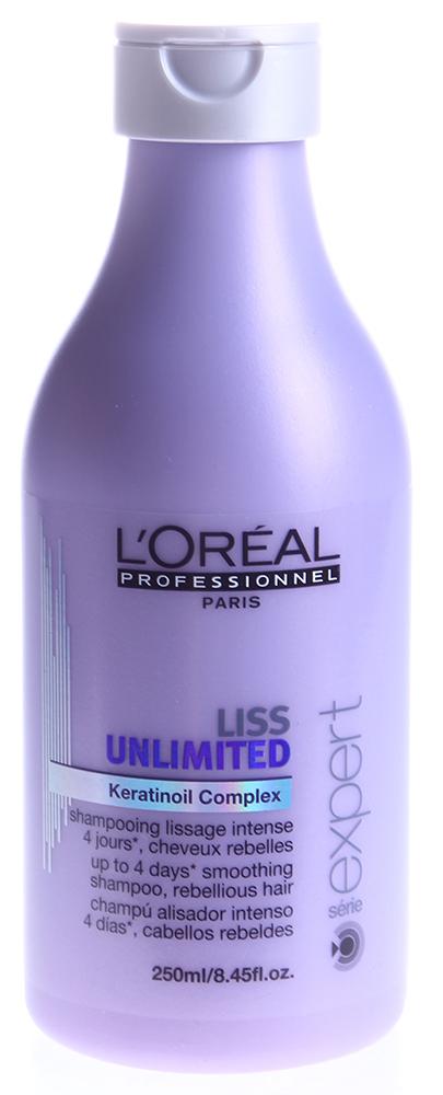LOREAL PROFESSIONNEL Шампунь для непослушных волос / ЛИСС АНЛИМИТЕД 250млШампуни<br>Шампунь бережно очищает, восстанавливает мягкость, разглаживает и обеспечивает питание для непослушных волос, облегчая расчесывание. Средство обеспечивает гладкость на 4 дня при влажности до 80%! Активные ингредиенты: технология Incell, насыщенные оливковое и аргановое масла. Способ применения: равномерно распределите по влажным волосам и вспеньте. Тщательно смойте. Если необходимо, повторите процедуру. Если у вас толстые волосы, возможно, понадобится нанести шампунь дважды, чтобы устранить мелкие завитки.<br><br>Типы волос: Для всех типов