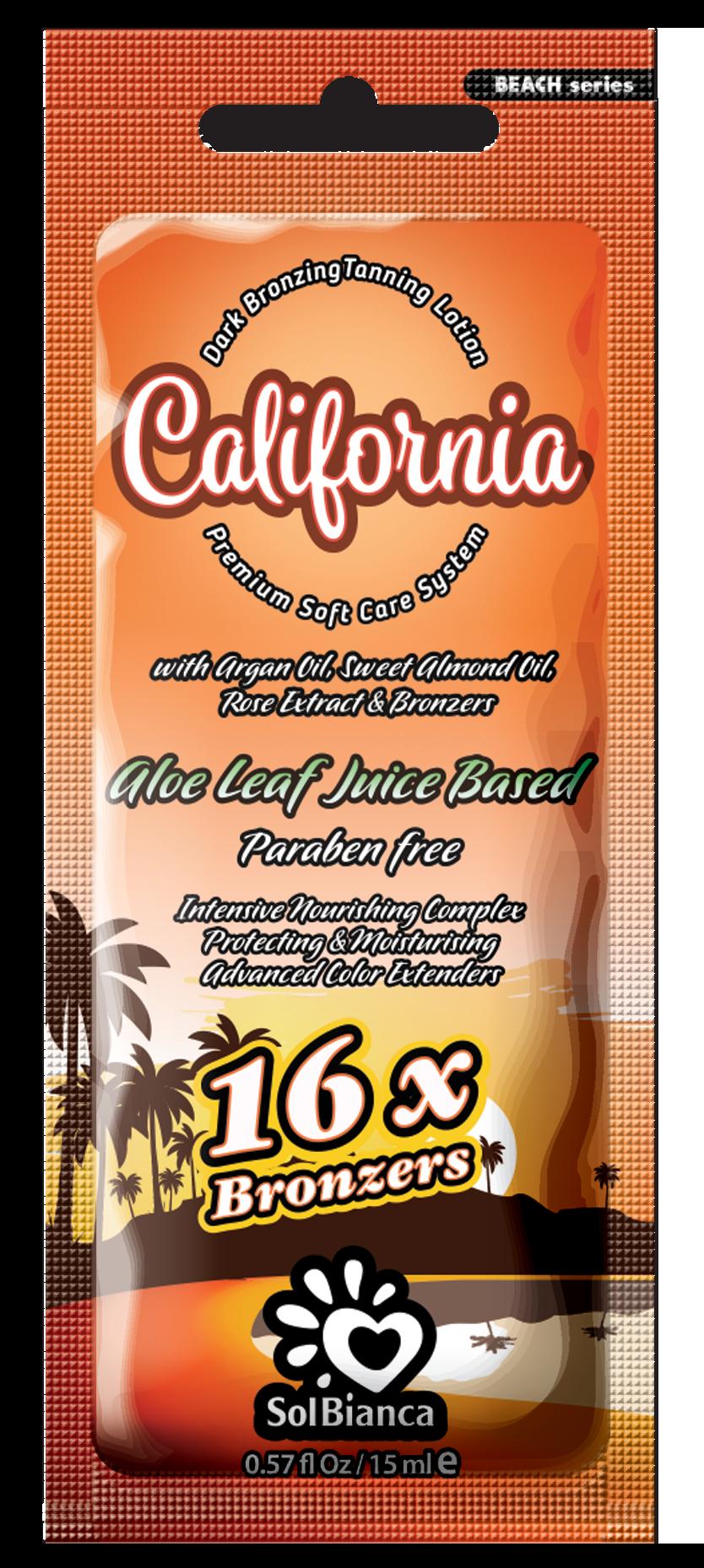 SOLBIANCA Крем с маслом арганы, маслом сладкого миндаля, экстрактом розы и бронзаторами для загара в солярии / California 15 мл
