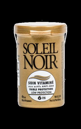 SOLEIL NOIR Крем антивозрастной витаминизированный Низкая степень защиты SPF6 / SOIN VITAMINE 20млКремы<br>Компактный витаминизированный крем для лица SOLEIL NOIR обеспечивает питание, увлажнение и профилактику преждевременного старения кожи в любое время года. В период высокой солнечной активности и на отдыхе его рекомендуется использовать обладателям темной или загорелой кожи, а при низкой солнечной активности  всем без ограничения, в качестве универсального дневного крема для лица. Активные ингредиенты:  3 физических фильтра защиты от лучей спектра А и В  Витамины Е и F с жирными кислотами Омега-3 оказывают антиоксидантное действие  Витамины C-E, F, pro-А предотвращают образование свободных радикалов  Бета-каротин (Pro-Retinol) мощный антиоксидант, защищает от солнечного излучения, помогает получить ровный и стойкий загар и предотвратить старение кожи  Провитамин В5 способствует регенерации, повышению эластичности и смягчению кожи  Масла оливы, зародышей пшеницы и бурачника питают и восстанавливают Способ применения: нанести на очищенную кожу лица. При интенсивном солнечном излучении обновлять крем каждые 2 часа.<br><br>Вид средства для лица: Антивозрастной<br>Возраст применения: После 25<br>Типы кожи: Для всех типов