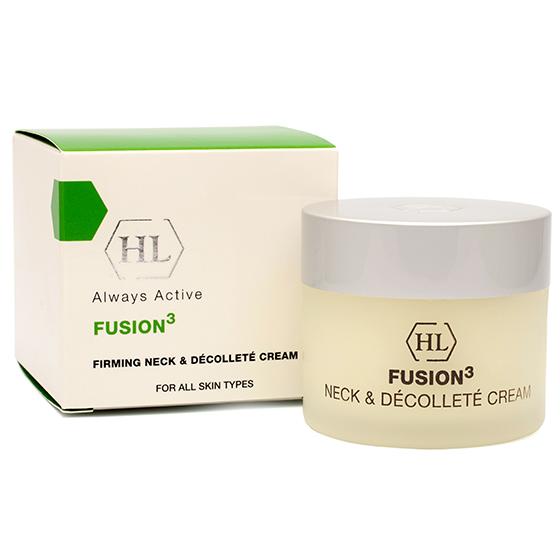 HOLY LAND Крем для шеи и декольте / Firming Neck &amp; Decolette Cream FUSION 50млКремы<br>Удивительно приятный крем обладает укрепляющим, подтягивающим и лифтинговым действием, а также интенсивно увлажняет кожу, делает ее гладкой и упругой. Благодаря содержанию арбутина и койевой кислоты, крем осветляет пигментацию в области шеи и декольте. Активные ингредиенты:&amp;nbsp;масло мурумуру, масло купуасу, оливковое масло, соевое масло, масло рисовых отрубей, арбутин, масло акай, кальций, гидролизованные растительные протеины и аминокислоты (серин, аргинин, пролин), витамины А, Е, F, Н, койевая кислота.&amp;nbsp; Способ применения: рекомендуется наносить крем 1-2 раза в день на область шеи и декольте после тщательного очищения.<br><br>Объем: 50