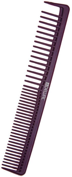DEWAL PROFESSIONAL Расческа рабочая Carbon Bordo комбинированная, с разделительным зубцом, антистатик 17,5 см