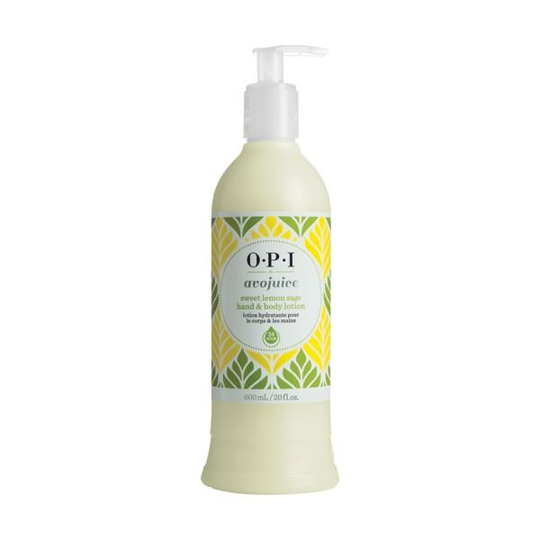 OPI Лосьон для рук Сладкий лимон и шалфей / AVOJUICE 600млЛосьоны<br>Лосьоны Аводжус обеспечат необходимый тонус вашей коже и защиту от токсинов на весь день. Натуральные фруктовые и растительные экстракты мгновенно увлажняют и питают кожу, витамины-антиоксиданты предотвращают ее старение. Формула лосьона быстро абсорбируется поверхностью кожи, делая ее шелковистой и мягкой.<br><br>Назначение: Старение