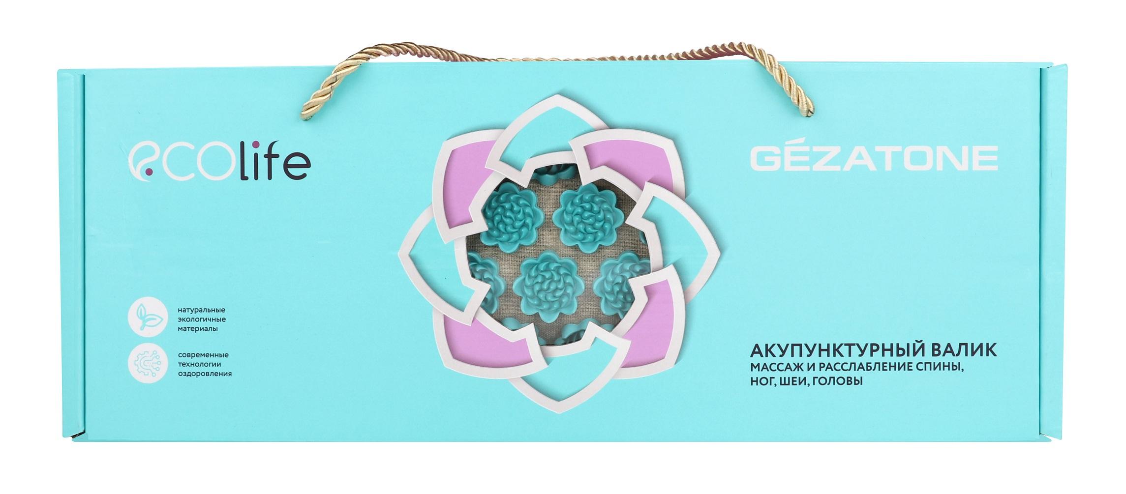 Купить GEZATONE Подушка массажная акупунктурная полукруглая, бирюзовая EcoLife Gezatone 40 х 15 см