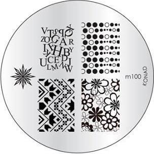 KONAD Форма печатная (диск с рисунками) / image plate M100 10грСтемпинг<br>Диск для стемпинга Конад М100 с узорами из хаотичных букв, индейских узоров и воздушных пузырьков. Несколько видов изображений, с помощью которых вы сможете создать великолепные рисунки на ногтях, которые очень сложно создать вручную. Активные ингредиенты: сталь. Способ применения: нанесите специальный лак&amp;nbsp;на рисунок, снимите излишки скрайпером, перенесите рисунок сначала на штампик, а затем на ноготь и Ваш дизайн готов! Не переставайте удивлять себя и близких красотой и оригинальностью своего маникюра!<br>