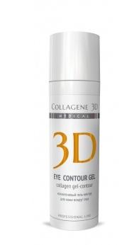 MEDICAL COLLAGENE 3D Гель-контур коллагеновый с янтарной кислотой для глаз Eye Contour Gel 30мл проф.Гели<br>Гель-контур насыщенной консистенции содержит янтарную кислоту и натуральный коллаген, благодаря которым устраняет следы усталости, темные круги и отечность под глазами, обеспечивает оптимальный уровень питания и увлажнения, повышает тонус и эластичность кожи, возвращает упругость и свежесть молодости. Нативный трехспиральный коллаген стимулирует выработку собственного коллагена кожи, интенсивно увлажняет, выравнивает микрорельеф, разглаживает морщины, оказывает лифтинг-эффект. Янтарная кислота является мощным антиоксидантом, оказывает выраженное антигипоксическое действие, ускоряет энергообмен клеток и микроциркуляцию в тканях, способствует усвоению кислорода и выработке АТФ, мягко осветляет. Активные ингредиенты: нативный трехспиральный коллаген, янтарная кислота. Способ применения: может применяться как массажное средство для параорибитальной области, используется в качестве маски или как активный концентрат для век. В качестве маски: на предварительно очищенную и тонизированную кожу вокруг глаз нанести тонким слоем на 5-7 минут, увлажнить. Сверху нанести еще один слой. Гель-контур содержит высокую концентрацию активных веществ, поэтому через 15-20 минут его необходимо смыть теплой водой. В качестве концентрата: смешать небольшое количество геля с любым кремом для ухода за параорбитальной областью и нанести на кожу вокруг глаз.<br><br>Объем: 30<br>Вид средства для лица: Массажное<br>Типы кожи: Чувствительная