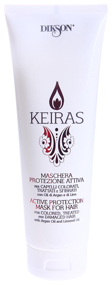 DIKSON Маска активная защита для окрашенных волос / MASCHERA PROTEZIONE ATTIVA KEIRAS 250млМаски<br>Маска мгновенного действия для окрашенных и поврежденных волос. Укрепляет, не утяжеляя структуру волос, содержит комплекс anti-age. Масло Арганы увлажняет волосы, делая их более эластичными. Льняное масло питает, придает объем и способствует укреплению корней.  Активные компоненты: Вода, Масло Арганы, Экстракт семени льна. Способ применения: Распределить маску на влажные волосы, расчесать. Время выдержки 5-15 минут, смыть.<br><br>Назначение: Выпадение