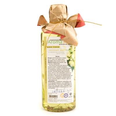 AROMA JAZZ Масло массажное жидкое для тела Липовый цвет 350млМасла<br>Стимулирует обменные процессы, повышает упругость, укрепляет стенки сосудов, препятствует варикозному расширению вен.  Липовый цвет  эффективно очищает, разглаживает и тонизирует кожу, предупреждает старение и выводит токсины. Масло прекрасно расслабляет, способствует глубокому и крепкому сну, может использоваться для облегчения болей при ревматизме. Запах бурлящих весенних соков, светлых снов, насыщенных будней. Масляный эликсир снимает напряжение, успокаивает, помогает расслабиться. Хорошее средство при стрессе и депрессии. Активные ингредиенты: масла оливы, пальмы, кокоса, растительное с витамином Е; экстракты конского каштана и липы; натуральная эссенция липы, хлорофиллипт. Способ применения: рекомендовано для проведения классического и баночного массажа, втирания после душа, горячих ванн и SPA-процедур в салоне и дома. Великолепно в антицеллюлитных обертываниях. Рекомендуется использовать одноразовое белье.<br><br>Объем: 350<br>Вид средства для тела: Массажный<br>Назначение: Старение
