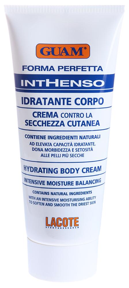 GUAM Крем интенсивно увлажняющий для тела / INTHENSO 200млКремы<br>Комбинация интенсивно увлажняющих ингредиентов (масло чёрной смородины, пенника лугового и сафлоровое масло) восстанавливает эпидермальный барьер, обладает влагоудерживающими свойствами, смягчает и питает кожу. Крем поддерживает естественный гидролипидный баланс кожи, интенсивно увлажняет, противостоит возрастным изменениям и влиянию неблагоприятных факторов внешней среды. Моментально впитывается в кожу, не оставляя жирного блеска. Активные ингредиенты: Экстракт водорослей GUAM, масло черной смородины, масло пенника лугового, сафлоровое масло, масло ши, фитоэкстракты ананаса, розмарина, лецитин. Способ применения: Нанесите на все тело и массируйте до полного впитывания. Может использоваться несколько раз в день.<br><br>Объем: 200<br>Вид средства для тела: Увлажняющий