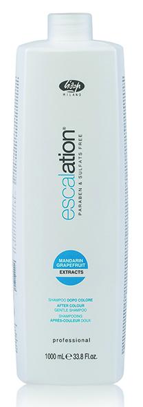 LISAP MILANO Шампунь стабилизирующий после окраш. с ICC Complex и маслом макадамии/Escalation After Color 1000млШампуни<br>Шампунь-стабилизатор цвета с пониженным уровнем pH восстанавливает физиологический кислотно-щелочной баланс волос и кожи головы, останавливает химический процесс окрашивания. Способствует долговременному сохранению косметического цвета и блеска волос. Не содержит парабенов, лауретсульфат натрия, лаурилсульфат натрия и силикона. Интенсивная восстанавливающая формула содержит ICC Complex, масло макадамии, экстракт зеленого чая, оказывающие на кожу успокаивающее и снимающее раздражение действие. Эфирные масла мандарина и грейпфрута обеспечивают мягкое очищение и восстановление волос и кожи головы. Активные ингредиенты: масло макадамии, экстракт зеленого чая, эфирные масла мандарина и грейпфрута Способ применения: нанести шампунь на влажные волосы, мягко промассировать, затем сполоснуть водой. Повторить нанесение и оставить шампунь на волосах на 2 минуты перед окончательным ополаскиванием.<br><br>Типы волос: Окрашенные