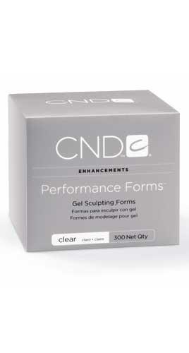 CND Формы для геля CND 300штНаращивание<br>Прозрачные формы Clear Performance Forms&amp;reg; Высокоэффективные формы для моделирования ногтей гелем. Специальные вырезы и перфорация позволяют очень точно подогнать форму, исключая затекание материала. Выполненное наращивание на формах Performance Forms&amp;reg; выглядит абсолютно натурально благодаря правильному С-изгибу. Прозрачный материал форм позволяет проникать ультрафиолету, полностью просушивая гель. Позволяют создать наиболее прочное наращивание при работе с непрозрачным моделирующим гелем.<br>