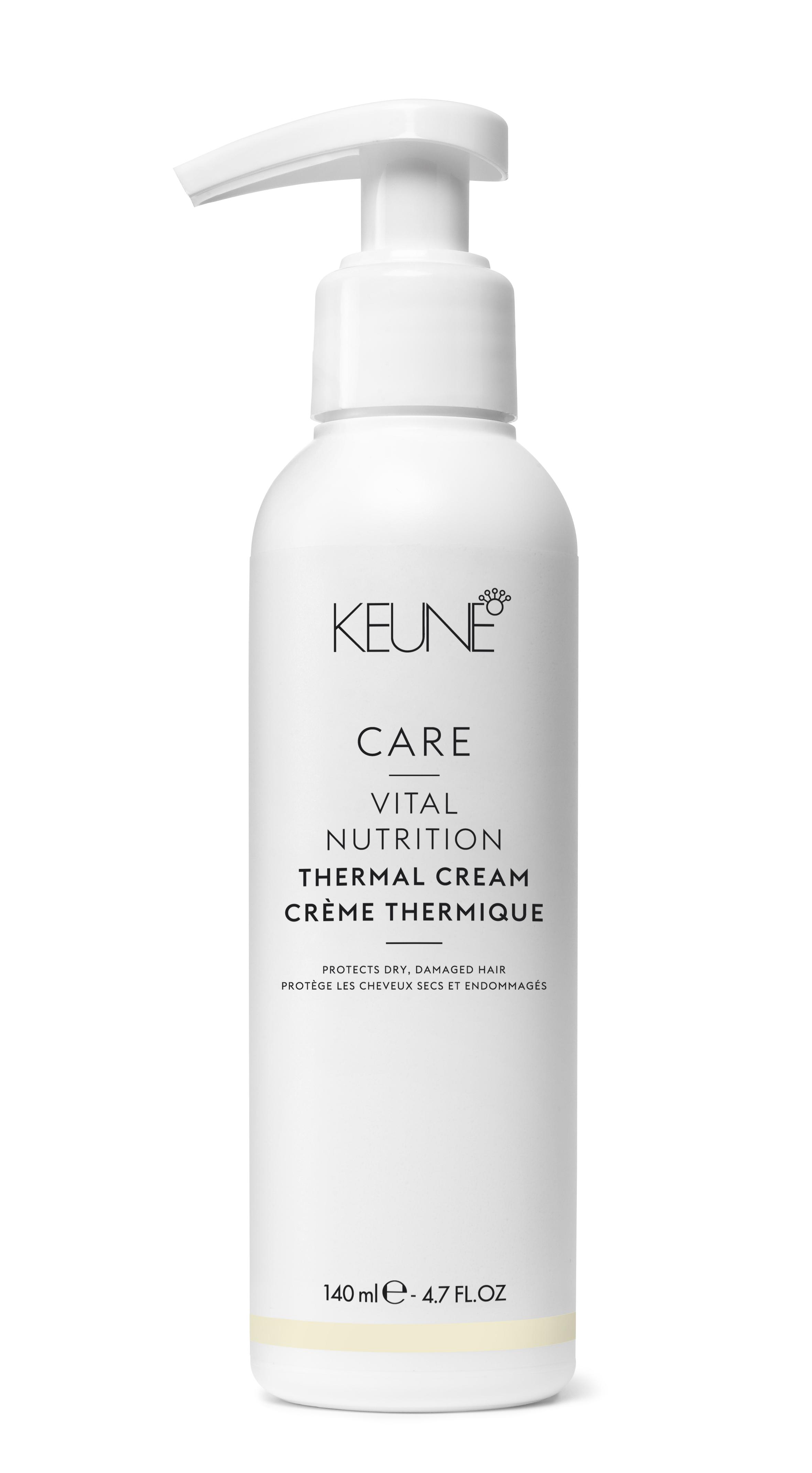 KEUNE Крем термо-защита Основное питание/ CARE Vital Nutr Thermal Cream 140млКремы<br>Крем термозащита «Основное питание» Кене предохраняет хрупкие и поврежденные волосы от воздействия высокой температуры. Пользуйтесь им перед горячей укладкой. Природные минералы существенно улучшают состояние пересушенных, слабых волос с повреждениями. Активные ингредиенты: вода, природные минералы цинк, медь, железо, кремний, магний, протеины. Способ применения: нанесите крем Keune Care Line Vital Nutrition на влажные волосы и приступайте к укладке.<br><br>Типы волос: Поврежденные