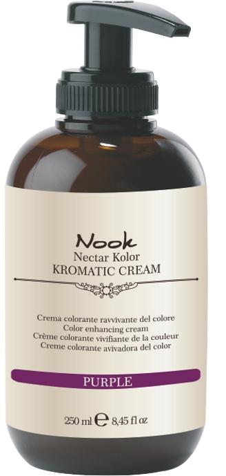NOOK Крем-кондиционер оттеночный «Фиолетовый» / Kromatic Purple KROMATIC CREAM 250 млКондиционеры<br>Крем–уход для окрашенных волос. Обладает двойным эффектом воздействия на волосы: увлажнение и питание по всей длине, защита цвета или легкое тонирование волос Активные ингредиенты: вода, цетеариловый спирт, масло чайного дерева, масло подсолнечника, фруктовые кислоты<br><br>Вид средства для волос: Оттеночный<br>Типы волос: Окрашенные