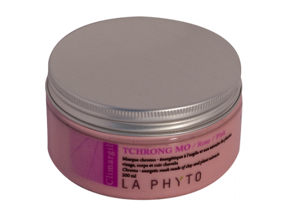 LA PHYTO Глина для лица, тела и волос Розовая / Tchrong mo Rose CLIMARGIL 150 грГлины<br>Глина для лица и тела Розовая - стимулирующая, расслабляет нервы. Способствует восстановлению жизненных сил тела и лица. Нацелена на активацию циркуляции энергии, которая борется с воспалениями и вялостью (потерей тонуса) нервов и клеток кожи. Активные ингредиенты: глина и эфирные масла гвоздики, лаванды и лимона и экстракты черной смородины, имбиря и женьшеня. Способ применения: нанести глину на все тело и/или лицо, рефлекторные зоны, энергетические меридианы согласно протокола процедуры. Время воздействия   около 15 минут. Смыть. В домашних условиях можно использовать в качестве масок и обертываний, а также для умывания (нанести на лицо и шею мягкими круговыми движениями, смыть теплой водой).<br><br>Вид средства для волос: Стимулирующий<br>Типы кожи: Для всех типов<br>Типы волос: Для всех типов