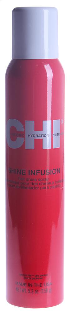 CHI Спрей блеск Чи Инфра 150грБлески<br>Спрей Блеск Чи Инфра без фиксации, предназначен для всех типов волос и используется в любой укладке для придания волосам невероятного сияющего блеска. Обеспечивает превосходное увлажнение и укрепление волоса, не утяжеляя его. Спрей Блеск Shine Infusion используется как завершающий штрих. Помогает восстановить посеченные концы волос. Идеально сочетается при использовании, с керамическими инструментами СHI. Подходит для ежедневного применения. Результат. Спрей, равномерно распределенный по всей поверхности волос, используется как завершающий этап любой укладки, придавая волосам великолепный сияющий блеск. Активный состав: Вода, этиловый эфир гидролизованного шелка, слюда. Применение: Равномерно распределить на всю поверхность волос.<br><br>Объем: 150