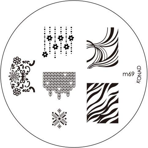 KONAD Форма печатная (диск с рисунками) / image plate M69 10грСтемпинг<br>Диск для стемпинга Конад М69 с бесподобными рисунками. Несколько видов изображений, с помощью которых вы сможете создать великолепные рисунки на ногтях, которые очень сложно создать вручную. Активные ингредиенты: сталь. Способ применения: нанесите специальный лак&amp;nbsp;на рисунок, снимите излишки скрайпером, перенесите рисунок сначала на штампик, а затем на ноготь и Ваш дизайн готов! Не переставайте удивлять себя и близких красотой и оригинальностью своего маникюра!<br>