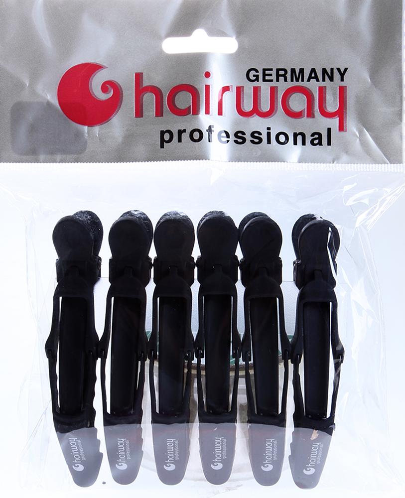 HAIRWAY Зажим-журавль каучук 115мм, 6шт/упЗажимы <br>Зажим для волос журавль каучук, 115 мм. 6 шт./уп.<br>