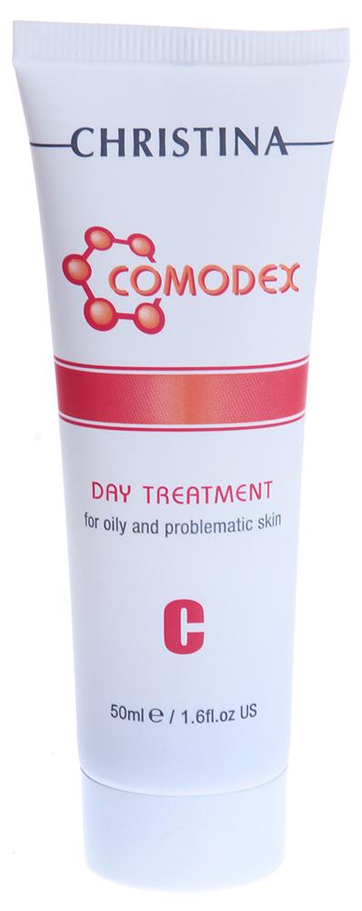 CHRISTINA Сыворотка дневная / C Day Treatment COMODEX 50млСыворотки<br>Действие: Очень нежная современная сыворотка. За счет комплекса активных компонентов: каприловой жирной кислоты, соединенной с глицином, экстракта корицы, экстракта томата с гиалуроновой кислотой обладает пятисторонним анти-акне действием: предотвращает рост бактерий в комедонах; подавляет активность 5 альфа редуктазы, регулируя таким образом секрецию сальных желез; предотвращает образование пероксид-устойчивых жирных кислот путем ингибирования бактериальных липаз; противостоит воспалению за счет ингибирования эластаз; защищает кожу путем нейтрализации свободных радикалов. Состав: Деминерализованная вода, спирт SD 40, пропилен гликоль, этоксидигликоль, экстракт корицы, каприлоглицин, метил глицин, гидроксиэтилцеллюлоза, молочная кислота, экстракт томата, ароматизатор, метилпарабен, гиалуроновая кислота. Применение: Утром на очищенную гелем Comodex A Cleansing Gel кожу наносите небольшое количество (0,5 мл) дневной сыворотки, уделяя особое внимание проблемным участкам. После этого используйте солнцезащитный крем Comodex Mattifying SunScreen SPF-15.<br><br>Объем: 50<br>Назначение: Акне, постакне<br>Время применения: Дневной