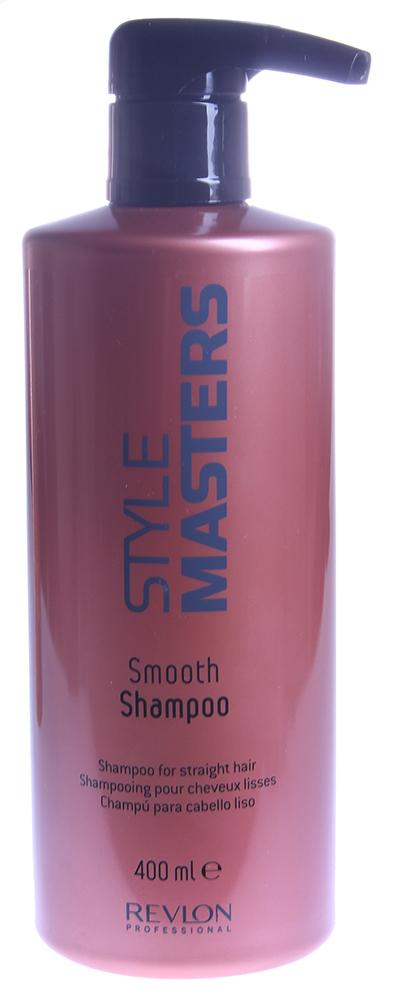 REVLON Шампунь для гладкости волос / STYLE MASTERS SMOOTH 400млШампуни<br>Разглаживающий шампунь специально разработан для гладкости непослушных волос. Уменьшает спутывание, очищает и увлажняет самые непослушные волосы. Способ применения: нанести на влажные волосы легкими массажными движениями. Тщательно смыть. При необходимости повторить.<br><br>Вид средства для волос: Разглаживающий