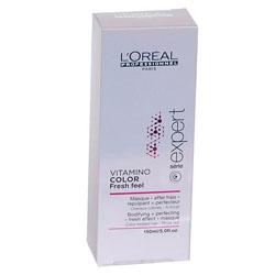 LOREAL PROFESSIONNEL Маска для окрашенных волос с освежающим эффектом / Vitamino Color AOX 150млМаски<br>Идеально подходит для волос, окрашенных INOA. В сочетании с мягким шампунем без сульфатов Vitamino Color AOX Soft Cleanser освежающая маска защищает материю окрашенных волос. Профессиональные стилисты знают, что женщины мечтают о сохранении текстуры и блеска только что окрашенных волос как можно дольше. Нежная тающая текстура с освежающим эффектом разглаживает чешуйки волоса и мягко освежает кожу головы. Окрашенные волосы выглядят вновь как в первый день после окрашивания, становятся гладкими, послушными и сияющими. сохраняя насыщенность оттенка. Способ применения: мягкими массажными движениями нанести маску на кожу головы и распределить по вымытым и подсушенным полотенцем волосам. Оставит на 1-2 минуты. Тщательно смыть. В случае попадания в глаза немедленно промыть водой. Не содержит поверхностно активных сульфатов.<br><br>Объем: 150 мл<br>Пол: Женский<br>Типы волос: Окрашенные